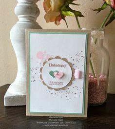 Stampin' Up! Einladungskarte zur Hochzeit, mit Stempelset Eins für alles und Gorgeous Grunge, in den Farben Savanne, Minzmakrone, Flüsterweiß und Zartrosa