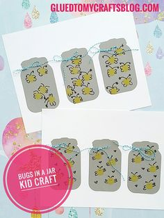 "Use a wine cork and a yellow ink pad to make ""bugs in a jar""  Find TONS of kid friendly craft ideas on Glued To My Crafts"