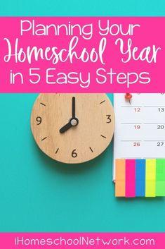 Planning Your Homeschool Year in 5 Easy Steps Kindergarten Homeschool Curriculum, Homeschooling, First Year Teaching, School Plan, Student Planner, Book Organization, That Way, How To Plan, Tips