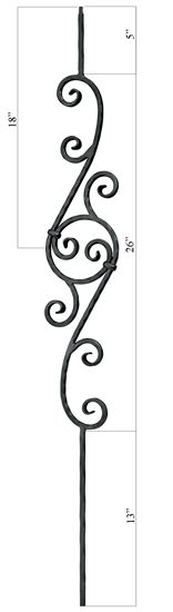 italian wrought iron balistrades | Solid Italian Hammered Iron Baluster This is a 1/2 sq. x 44 forged ...