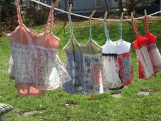 Dishfunctional Designs: Vintage Handkerchiefs & Scarves Upcycled and Repurposed    Sew onto premade cami.