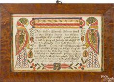 Johann Conrad Gilbert (Southeastern Pennsylvania, late 18th/early 19th c.), Berks County ink and watercolor fraktur birth certificate for David Berck, b.