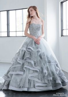 Elegant neutral gray wedding gown from Isamu Morita Royal Dresses, Ball Dresses, Ball Gowns, Super Cute Dresses, Pretty Dresses, Country Wedding Dresses, Modest Wedding, Casual Wedding, Tulle Wedding
