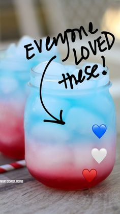 Blue Drinks, Blue Cocktails, Cocktail Drinks, Kid Drinks, Party Drinks Alcohol, Non Alcoholic Drinks, Beverages, 4th Of July Party, Fourth Of July