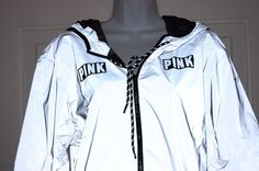 Victorias Secret Pink Limited Edition 002 Anorak Reflective Jacket Backpack M/L #VictoriasSecret #Windbreaker