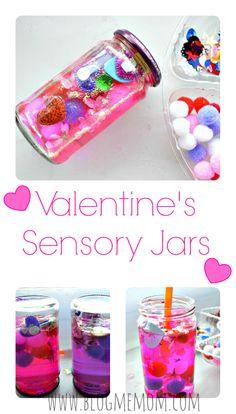 Valentine's Sensory Jars kids can make. #sensoryactivitiesforkids #valentinesdaycraftfs #valentinesdayactivities