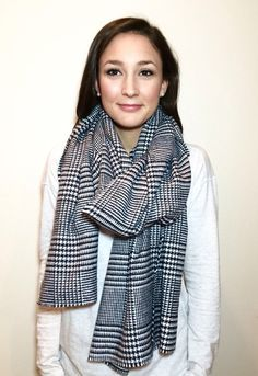 Black and White Houndstooth Blanket Scarf  by SandySeaTurtle