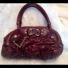 LIKE NEW JUICY COUTURE leather Bag No scratches. Clean liner. Measures 6.5x12. A real eye candy  Juicy Couture Bags