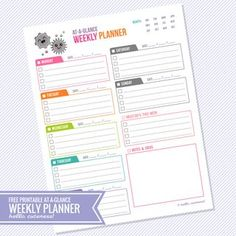 {Free Printable} At-a-Glance Weekly Planner | Hello, Cuteness! | Bloglovin'