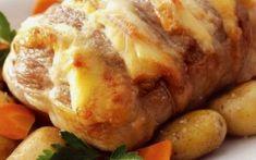 Χοιρινό με χαλούμι στο φούρνο Halloumi, Greek Recipes, Baked Potato, Sausage, Pork, Turkey, Cooking Recipes, Chicken, Ethnic Recipes