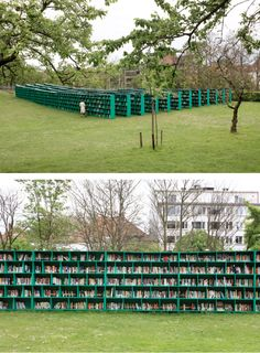 How cool is this idea, it's a public outdoor library installed in the middle of a Belgian vineyard. It's called the Bookyard and it was built by Italian artist Massimo Bartolini for the Belgian art festival in Ghent. Visitors are invited to look at the books and take any one of them home for  a for a small donation.