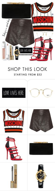 """""""Untitled #311"""" by sassymermaid ❤ liked on Polyvore featuring Ray-Ban, Moschino, Mason by Michelle Mason, Giuseppe Zanotti, Jimmy Choo, Yves Saint Laurent and Versace"""