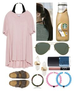 """Got the pink Lokai!!"" by emmacaseyyyy ❤ liked on Polyvore featuring Aerie, Zara, Birkenstock, pinkage, Ray-Ban, Kendra Scott, NARS Cosmetics and Everest"
