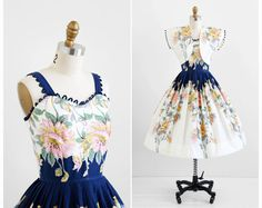 vintage 1950s dress / 50s dress / Blue and Pink Floral Print Cotton Sundress with Matching Bolero