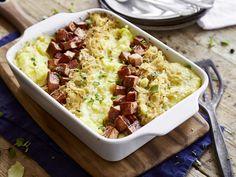 Sauerkraut-Auflauf mit Leberkäse und Kartoffelpüree - wie bei Mutti