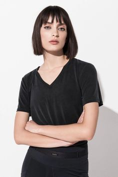 This incredibly soft and lightweight V-neck T-shirt is crafted from premium Japanese Bemberg™ Cupro fibers and has a unique peach-skin finish that looks and feels like silk. Bra Tops, Tank Tops, Bra Sizes, V Neck T Shirt, Perfect Fit, Active Wear, Model, Fashion, Moda