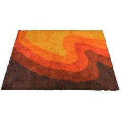 Vintage 60's Wool Rya Area Rug // This beautiful original vintage Rya wool area rug has wonderful wave design and great color.