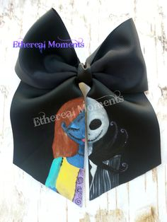 Jack and Sally Nightmare before Christmas handpainted cheer hairbow https://www.facebook.com/etherealmoments