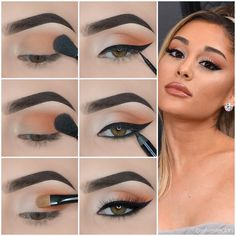 Do you like the exquisite makeup of fashion celebrities, such as Kylie Jenner, Ariana Grande and Kim Kardashian? Let& learn these eyeshadow tutorials. Eye Makeup Steps, Eye Makeup Art, Smokey Eye Makeup, Makeup Eyeshadow, Maybelline Eyeshadow, Eyeshadow Palette, Eyeshadow Makeup Tutorial, Brown Eye Makeup Tutorial, Makeup Trends