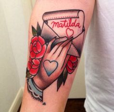 Traditional tattoo. Roses. Hands and love letters.