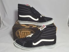 Details about Vintage Vans shoes AUTHENTIC NAVY made USA Mens Size 9.5 SK8  Hi old Skool BMX da59fe296
