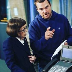 """Chris O'Donnell as the director w/Linda Hunt in """"An Unlocked Mind."""""""
