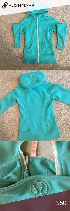 Lululemon Scuba Hoodie IV (Sweatshirt Zip up) Lululemon size 2 Scuba Hoodie IV (sweatshirt zip up). Green/teal unique color in great condition. Soft on the inside and thick sleeves for warmth! lululemon athletica Tops Sweatshirts & Hoodies