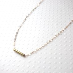 Tiny Gold Tube Necklace by Marigold Mary