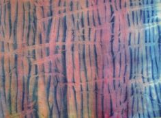 Hand Dyed Shibori Fabric  Fat Quarter  by MaterialisticVisions rose,violet,blues - Using Pebeo translucent paint, it's wrapped, dyed (painted) then re-wrapped and overdyed.
