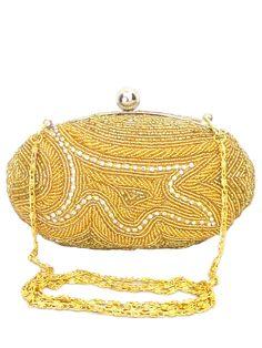 Oval Beaded Box Clutch- Golden