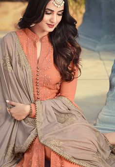 Buy Sonal Chauhan peach and grey georgette wedding anarkaliin UK, USA and Canada