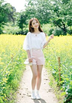 Korean Daily Fashion- Date Look ♥              Long white sleeve blouse   Flower strap dress          White graphic t-shirt   Blue skinny...
