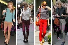 And today's Style Crush Award goes to: Taylor Swift! Taylor Swift Style, Striped Jeans, Colored Jeans, Her Style, Retro Fashion, Celebrity Style, How To Look Better, Fashion Outfits, Preppy Outfits