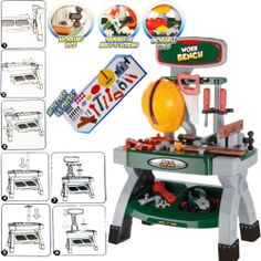 Childrens Work Bench Kids Play Set With 45+ Tools DIY Tool Kit Construction Toy