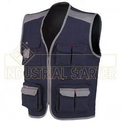 CHALECO STRETCH Referencia  8746 Marca:  Industrial Starter  Riesgos mínimos  Chaleco multibolsillos con red interna y bolsillo con tejido para absorber las ondas del móvil.             Composicion: 97% algodón, 3% spandex.  Tallas: S-M-L-XL-XXL-3XL Color:  beige/negro; gris/negro y azul/gris.