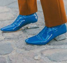 Blue Patent Leather Boots With a Clear Block Heel // More of The Best Shoes From Streets of New York and Paris Fashion Week: (http://www.racked.com/street-style)