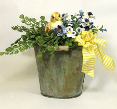love the bucket idea for a spring floral arrangement | Flowers
