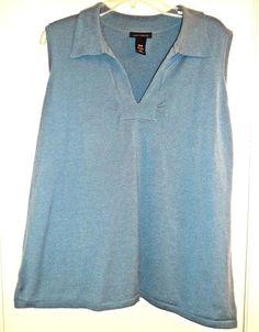 1db2b52c850438 LANE BRYANT Plus Size 26   28 Blue Sleeveless Knit Collared Top Blouse   LaneBryant