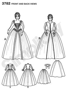 Simplicity Patterns - 3782 -  Misses Costumes - Misses Elizabethan Costumes. Andrea Schewe for Simplicity.