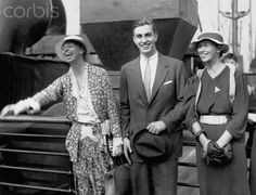 Eleanor Roosevelt welcomes her son home from a European tour, along with her daughter Anna, circa September 7, 1933.