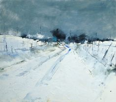 Hannah Woodman - Snow Study, Cornish Farm Oil and pencil on paper 39cm x 44cm £925 mixed media Pencil and oil on paper Hannah Woodman, British Landscape painter