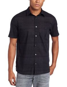 Calvin Klein Sportswear Men's Short Sleeve Yarn Dye Ombre Plaid, Black, X-Large