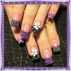 Gray , Purple nail art