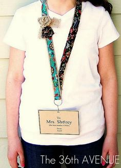 Create a fancy back to school teacher's badge with cool burlap accents. | teacher gift