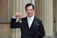 Special moment: Benedict Cumberbatch looked proud as he decked out in traditional morning dress