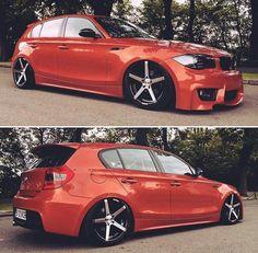 BMW E87 1 series M Coupe orange slammed