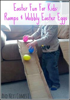 Easter activity for kids using cardboard ramps and wobbly Easter eggs from And N. Easter activity for kids using cardboard ramps and wobbly Easter eggs from And Next Comes L Easter Activities For Kids, Spring Activities, Easter Crafts For Kids, Infant Activities, Preschool Activities, Easter For Babies, Fun Easter Games, Outside Activities For Kids, Bunny Crafts