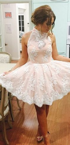 2016 homecoming dress, short homecoming dress, high-neck short lace homecoming dress ,party dress, formal dress, dancing dress