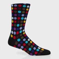 Paul Smith Men's Socks | Black Multi-Coloured Spot Socks