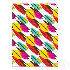 Leaf Abstract Retro Multicolored Pattern Personalized Announcements